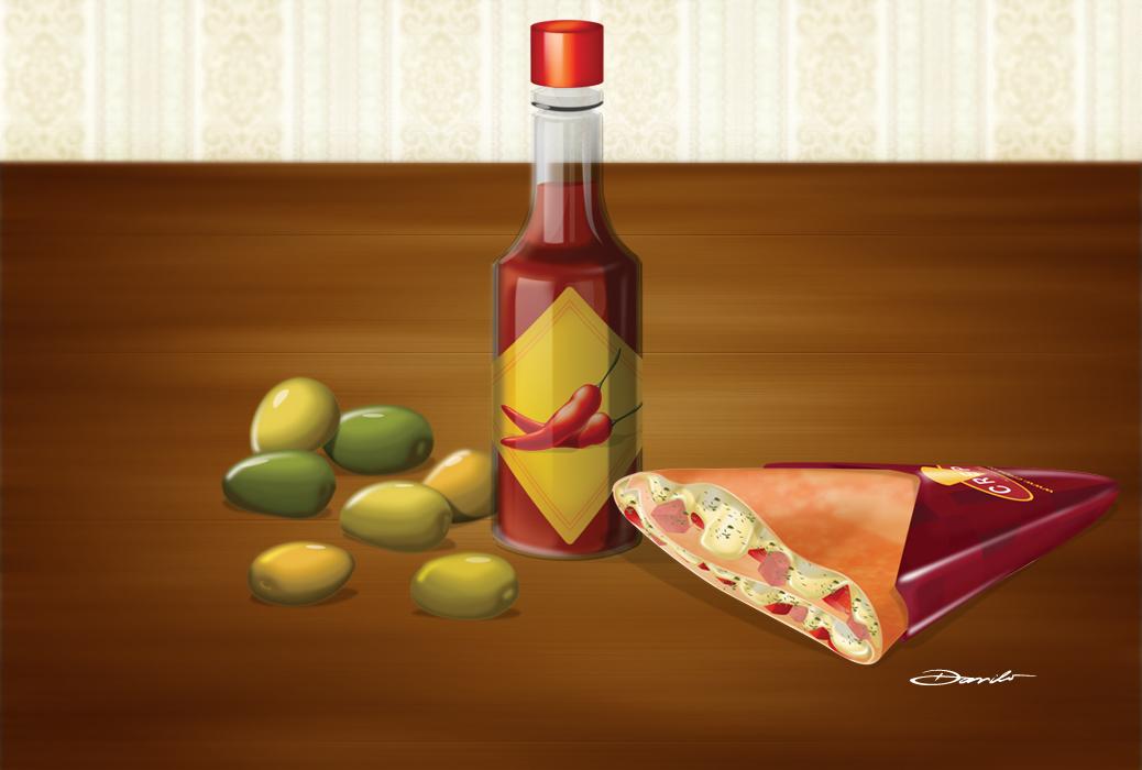 Azeitonas, molho de pimenta e crepe salgado, by Danilo Aroeira