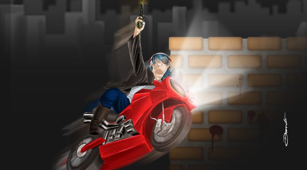 Motoqueiro atirador em estilo anime/mangá - by Danilo Aroeira